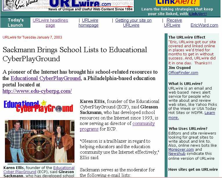 Eric Ward Link Moses published article about Educational CyberPlayGround, Inc.